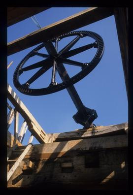 Windshaft and tailwheel resting on top of reconstructed buck, Lowfield Heath Mill, Charlwood