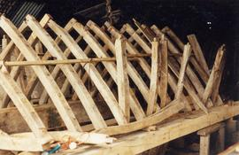Roof ridge timbers test-fitted in workshop, post mill, Chinnor
