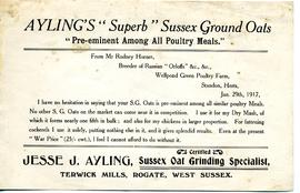Jesse J Ayling Advertisement for ground oats