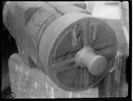 Tail end of a wooden windshaft showing tail journal