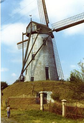 Preserved tower mill at Damme, Belgium, summer 1971