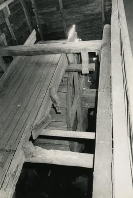 Penstock from the first floor of Kümajoki Farm watermill, Velaatta, Teisko, Häme