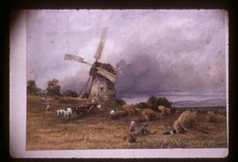 Photograph of oil painting depicting small smock mill