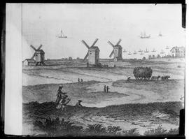 Image of engraving of three post mills
