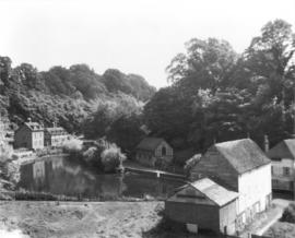 View from hillside of buildings and pond, Lower Crisbrook Mill, Maidstone