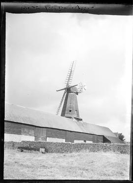 Smock mill, West Blatchington, with stocks, two sails and fan