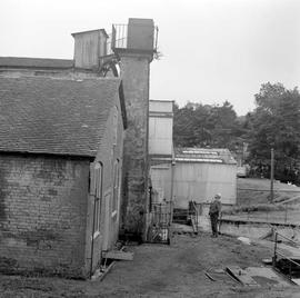 Maggs and Hindleys works, Bourton, Dorset, exterior of the ruinous mill building and former wheel housing