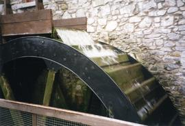 Photograph of the waterwheel in use, Skerries Mills, Dublin, Ireland