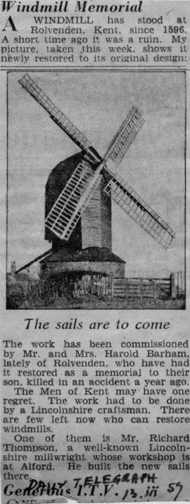 Newspaper cutting about restoration, post mill, Rolvenden