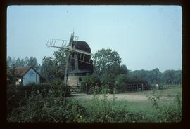 Post mill, Madingley, derelict, with remains of four sails