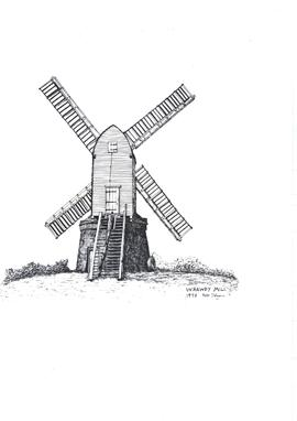 Freehand sketch of Wrawby mill 1978