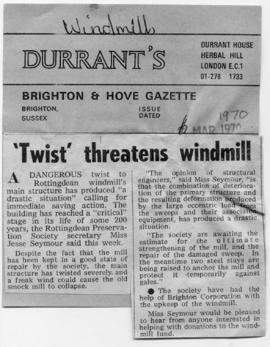 """ 'Twist' threatens windmill"""