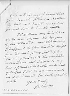 Letter from Col. V. S. Laurie (2 of 2)