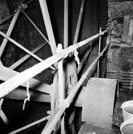 Watermill, Clapton, detail of the spokes of the waterwheel