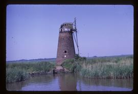 Derelict tower windpump with cap, tower mill, Hardley Marshes