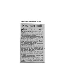 """New post mill plan for village"""
