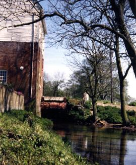 Evegate Mill, Smeeth, and wheel, looking upstream