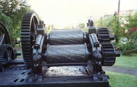 Photograph of a three-roll horizontal crusher, St James' Distillery, Martinique