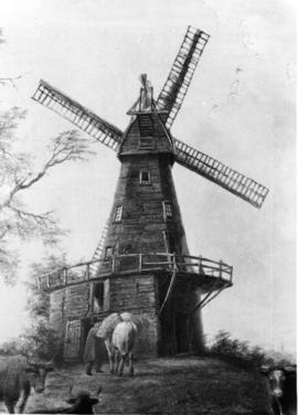 St Martin's Black Mill, Canterbury, with horse and cattle