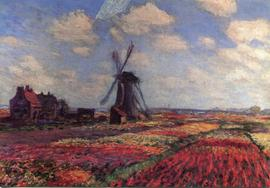 Greeting card of a painting depicting a windmill in a tulip field