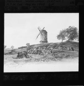 Post mill, Merstham, photograph of watercolour