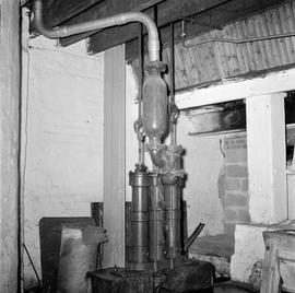 Interior showing pipework and brewing machinery, Old Brewery Mill, Bridport