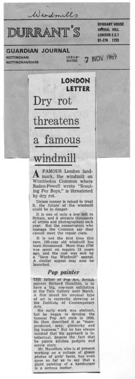 """Dry rot threatens a famous windmill"""