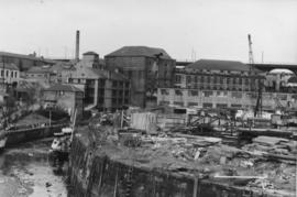 View of complex and nearby industrial area, Ouse Burn Mills, Newcastle upon Tyne