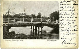 A footbridge at Brimpton with the mill in the distance