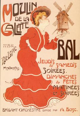 Postcard of an advertising poster for Moulin de la Galette, Montmarte, France