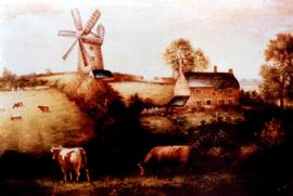Photograph of painting of Tower mill, Heage.