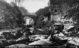 View of mill and bridge from downriver, watermill, Jesmond, Newcastle