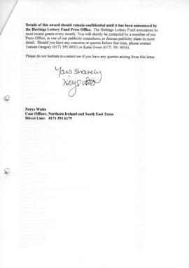 Letter confirming HLF grant part 2 of 4