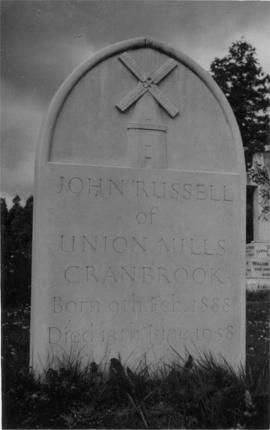 Gravestone of John Russell, Union Mill, Cranbrook