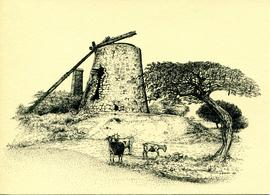 Postcard of a disused sugar mill, Antigua