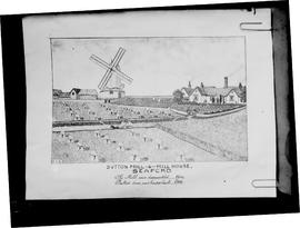 Photograph of page from book showing poor painting of post mill