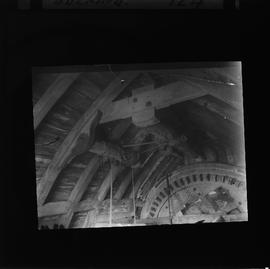 Bin floor of Bocking post mill, Essex, showing brake wheel. Slide is damaged - copy of Marchingto...