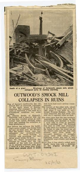 """Outwood's smock mill collapses in ruins"""