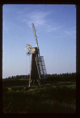 Derelict trestle windpump with two sails and remains of fantail, St Olave's Mill, Fritton