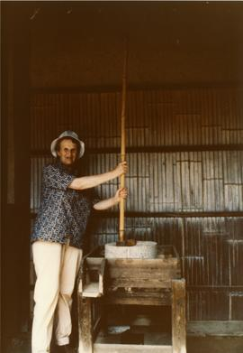 Photograph of Julie Roberts with a Japanese pole quern