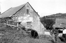 Gable end and overshot wheel with chain drive, Hembury Mills, Askerswell