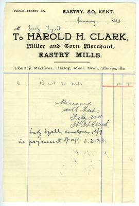 Billhead of Harold H Clark, Eastry (front)