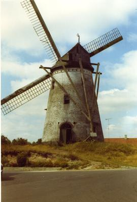Derelict tower mill at unidentified location, Belgium, summer 1971