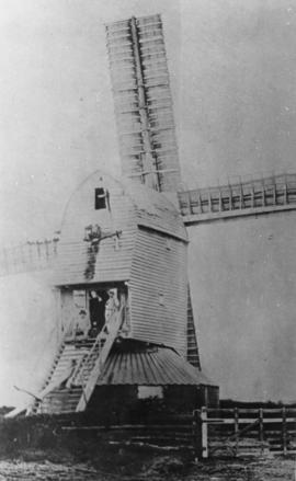 Rear of Wacton Mill with two men
