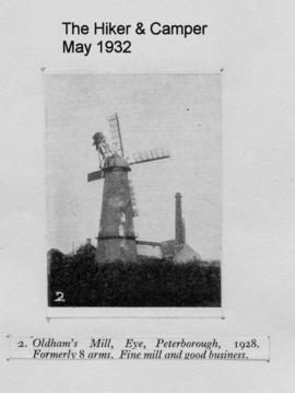 """Oldham's Mill, Eye, with its four new sails in 1928"""
