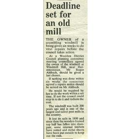 """Deadline set for an old mill"""