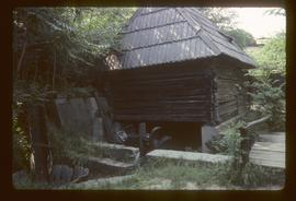 Small preserved watermill with small vertical wheel that has scoops like a Norse wheel