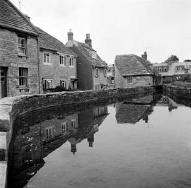 Old Mill, Swanage, with houses lining the course of the river