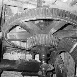 Detail of wallower and spur wheel from underneath, West Mill, Sherborne
