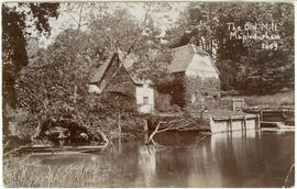 """Mapledurham Mill, from the mill island, with a moored punt"""